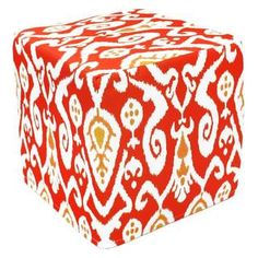 Handcrafted Red Ikat Pouf Ottoman (India) | Overstock.com Shopping - Top Rated Ottomans