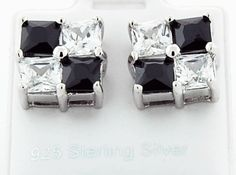 This is a beautiful square shape 925 sterling silver black and white CZ earrings. Women's Jewelry, Womens Jewelry Rings, Silver Jewelry, Silver Rings, Sterling Silver Earrings, Cufflinks, Shape, Accessories, Beautiful