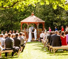 A wedding with a Gazebo-in-a-Box in the background