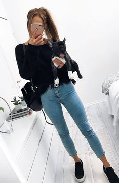 casual style perfection / bag + skinnies + top + sneakers