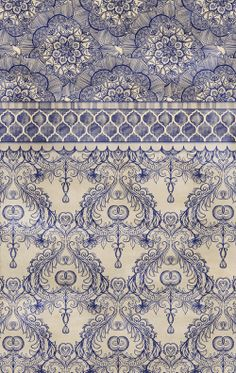 Vintage Wallpaper - hand drawn patterns in navy blue & cream