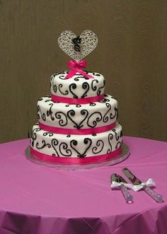 pink black and white wedding cakes - Google Search