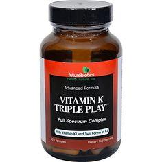 FutureBiotics Vitamin K Triple Play 60 Capsules Gluten Dairy Yeast & Wheat Free Play 60, Vitamin K1, Nutritional Supplements, Vitamins And Minerals, Herbalism, Healthy Living, Health And Beauty, Vegetarian, K2