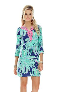 Rylee Shift Dress - Lilly Pulitzer Bright Navy Tiger Palm