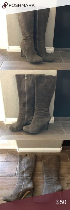 Halogen suede boots. Beautiful Halogen dark taupe/grey suede boots! Size 6 but fits like 6.5. Still in great condition. Halogen Shoes Heeled Boots