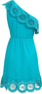 One Shoulder Broderie Dress