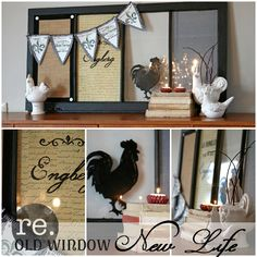DIY recycled old window message board