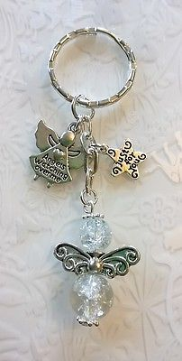 Guardian angels keyring~glass beaded handmade angel~angels watching over me gift