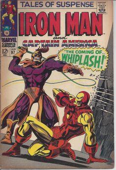 Tales of Suspense 97 Key Silver Age Marvel Iron Man Captain America Whiplash Marvel Comic Books, Comic Book Characters, Marvel Characters, Comic Books Art, Comic Art, Book Art, Avengers Comics, Batman Comics, Marvel Vs