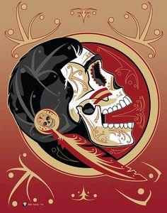 Florida State Seminole Sugar Skull 11x14 print by MYantz on Etsy