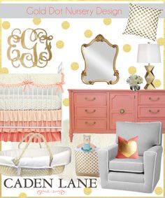 Accessorize the Caden Lane Coral and Gold Dot Baby Bedding with a gold monogram and so much more!!