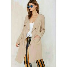 Khaki Draped Trench Maxi Long Jacket Get your 90s gallery owner on in this super fly trench coat! It has pockets, draping open front, shoulder tabs, and overlay detail. Throw it over skinny jeans, vinyl leggings, jumpsuits-- literally anything! For an artsy power-babe look, it's a one-stop shop. Lightweight. Unlined. Polyester. (FIRST PHOTO is similar trench). Can fit a S-M.  NWOT NO TRADES Jackets & Coats Trench Coats