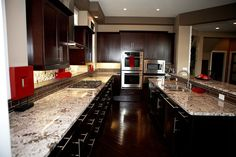We can reface your kitchen cabinets in Edmonton with quality and competitive prices and with excellent experience. Espresso Cabinets, Refacing Kitchen Cabinets, Granite Kitchen, Dark Cabinets, Granite Countertops, Cabinet Refacing, Kitchen Images, Kitchen Ideas, White Granite
