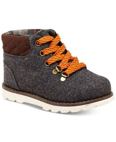 Robust design meets classic cuteness with these lace-up boots from Carters-finished with quilted panels for a stylish finish. | Faux leather upper; rubber sole | Imported | Lace-up closure | Quilted p