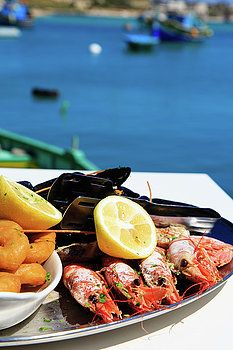 Seafood platter served in scenic restaurant by Nadya&Eugene Photography #NadyaEugenePhotography #SeaFood #FoodPhotography #ArtForHome