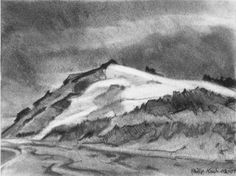 """""""Edward Hopper's Beach, Looing North"""" A vine charcoal drawing by Philip Koch of the huge sand dune just north of Edward Hopper's studio. Done on location standing on the beach just below the studio Vine Charcoal, Charcoal Drawing, Edward Hopper Paintings, Realistic Drawings, Inktober, Landscape, Artist, August 2013, Project 3"""