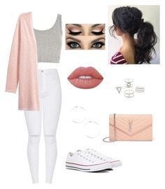"""""""Untitled #49"""" by blossom03 ❤ liked on Polyvore featuring Topshop, H&M, Converse, Lime Crime, Yves Saint Laurent and Charlotte Russe"""