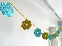 turquoise and green crochet flower garland by cCoral on Etsy, $25.00