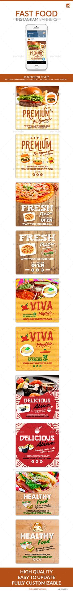 Instagram  Banners  Fast Food — Photoshop PSD #vector #hamburguer • Available here → https://graphicriver.net/item/instagram-banners-fast-food/11829257?ref=pxcr