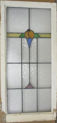 """OLD ENGLISH LEADED STAINED GLASS WINDOW Stunning Abstract Band 20/"""" x 16.75/"""""""