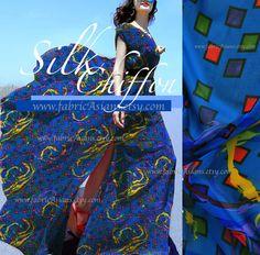 Blue Silk Chiffon Mosaic Prints Wedding Fabric by fabricAsians