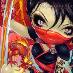 Fairy Face 185 Jasmine Becket-Griffith Art Dragon Ninja Fantasy SIGNED 6x6 PRINT