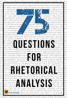 75 rhetorical analysis questions sorted by category: purpose, audience, subject, tone, author's bias, structure and organization, style