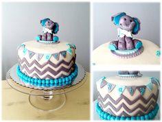 Aqua and gray chevron and elephant baby shower cake
