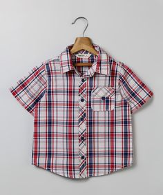 Red & Blue Plaid Button-Up - Infant Toddler & Boys