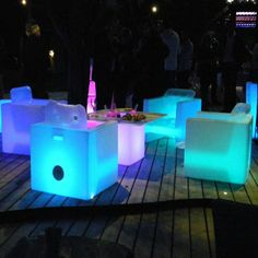 LED ILLUMINATED TABLE AND FOUR CHAIR DINING SET