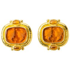 Elizabeth Locke Venetian Glass Intaglio Gold Earrings | From a unique collection of vintage clip-on earrings at https://www.1stdibs.com/jewelry/earrings/clip-on-earrings/