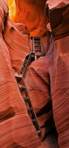 'Jacob's Ladder' - Stairs dropping down into lower Antelope Canyon with the light illuminating from the top, Page, Arizona, [USA] by Mike Dawson