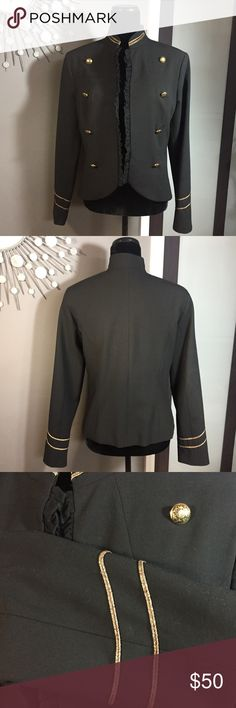 ABS Allen Schwartz Luxury Collection Bolero Jacket Stunning ABS Allen Schwartz Luxury Collection Bolero Jacket ⭐️EUC⭐️ Size: 8 ⭐️This jacket is pure perfection! Stunning gold detailing really pops on this modern silhouette. 💎 Easy to dress this up or pair it with jeans. Beautiful, ruffled trim adds a touch of romance. ❤️ Fast shipping 📦 Bundle multiple items from my closet to save even more! 💰 ABS Allen Schwartz Jackets & Coats Blazers