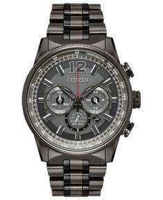 Citizen Eco-Drive Men's Chronograph Nighthawk Gray Stainless Steel Bracelet Watch 43mm | macys.com