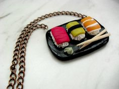 Sushi Platter Neclace Polymer clay  food by DevineDecadance