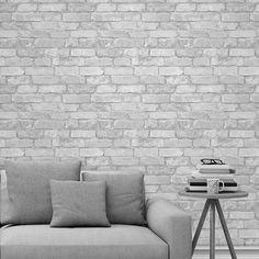 White and Silver Rustic Brick Effect Wallpaper Windsor Wallcoverings – Brick Wallpaper Silver Wallpaper, Wallpaper Bedroom, Rustic Bedroom, Brick Wallpaper Living Room, Silver Wallpaper Living Room, Living Room Interior, Wall Coverings, White Brick, Brick Design Wallpaper