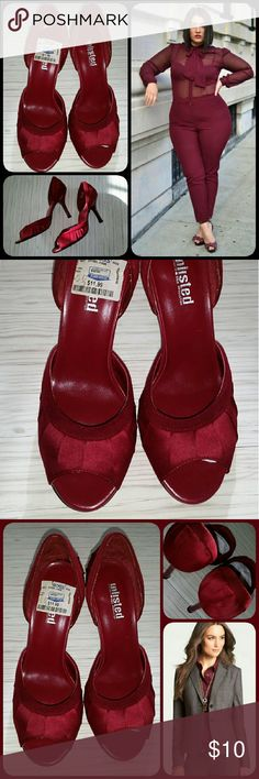 """*Unlisted* Peep-Toe Pumps Burgundy satin peep-toe pumps w/ pleated details. Solid heel.  3.5"""" heel height. Worn once for a couple of hours.  (Note: Glue is loose on left heel and isn't aligned. Can be fixed. See pic 4) Unlisted Shoes Heels"""