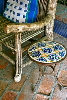 Textile, hand-painted tiles & Rustic bench