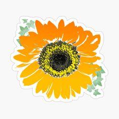 Sunflower Clipart, Sunflower Flower, Sunflower Design, Yellow Sunflower, Orange Sunflowers, Canvas Prints, Art Prints, Vintage Shops