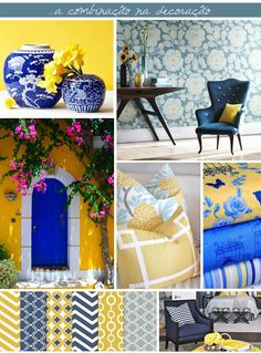 yollow and blue on decor / color combination