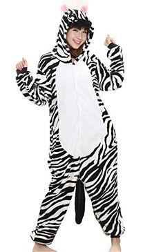 Haroty Adulte Unisexe Halloween Zebra Pyjama À capuche Combinaison Cosplay  Anime Animal Costume pajamas Flanelle Vêtements 7fdf3e2bcd8f