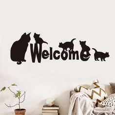 Creative Wall Decal Vinyl Removable Mother Cat And Kittens Welcome Wall Sticker Home Decor