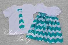 Chevron Twins Outfits, baby and toddler Dress and Brother Tie shirt, Sibilings, Twins, Big Brother Little Sister Outfit, Chevron Print, Teal via Etsy