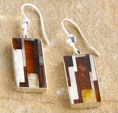 Amber Mosaic Earrings--Thin amber tiles are hand-cut and fitted by Polish artisans to create intriguing yet unique patterns that enhance these earrings. Set in sterling silver.
