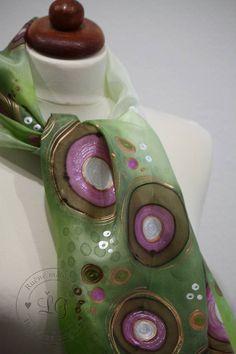Šály - kruhy zeleno ružovée - 4979626_