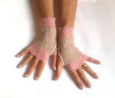 Beige pink  lace gloves  bride wedding bridesmaid by GlovesByJana
