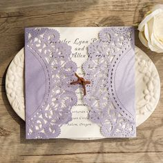 romantic lavender purple laser cut wedding invitations with suede cord EWWS121