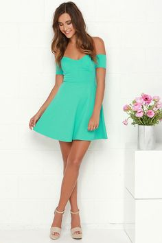 Lulus Exclusive! Look and feel sweetly alluring in the Tea Cup Mint Green Off-the-Shoulder Dress, it's worthy of a tea party at Tiffany's! Stretch knit fabric in a gorgeous mint green falls into a bustier bodice with lightly padded cups and fitted, off-the-shoulder sleeves. Skirt flares to create a skater silhouette. Hidden zipper at back. Cups are lined. 62% Viscose, 33% Nylon, 5% Spandex. Dry Clean Only.