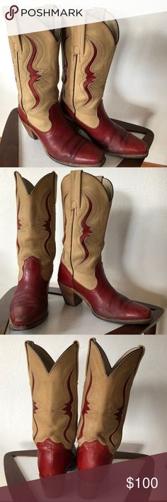 Vintage Frye Western Boots These were my dancing boots! Downsizing my collection. Great vintage condition.  Size 8.5 AA.  I wear an 8 wide and these fit me great. Could use a new insole as I used the squishy ones.  Burgundy and clam colored. Comes with the original box they came in. Frye Shoes Heeled Boots