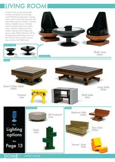The JOHN Collection 3 Next up we have one of my favourite pages from the entire catalogue – solely for the Shell chairs and Jalkow tables (so named because they would fit well with the Jalkow stool). Lego Design, Moc Lego, Pokemon Lego, Lego Mini, Modele Lego, Lego Furniture, Minecraft Furniture, Furniture Ideas, Construction Lego